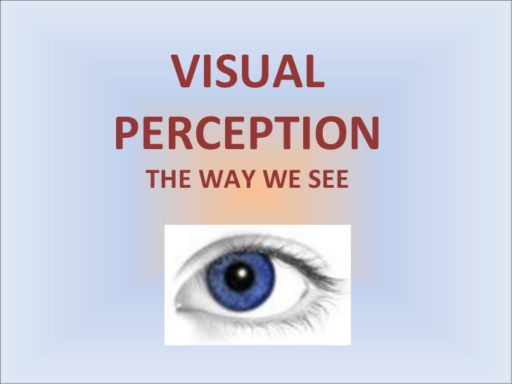 VISUALPERCEPTION THE WAY WE SEE