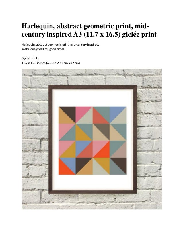 Harlequin, abstract geometric print, mid-century inspired A3 (11.7 x 16.5) giclée printHarlequin, abstract geometric print...