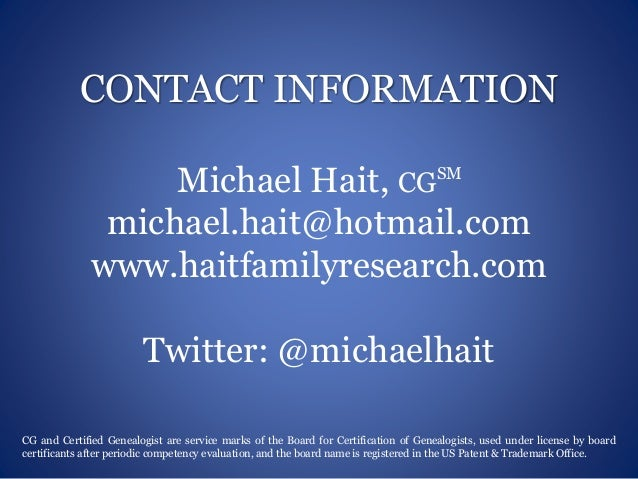 Michael Hait, Professional Genealogist - Visual Resume