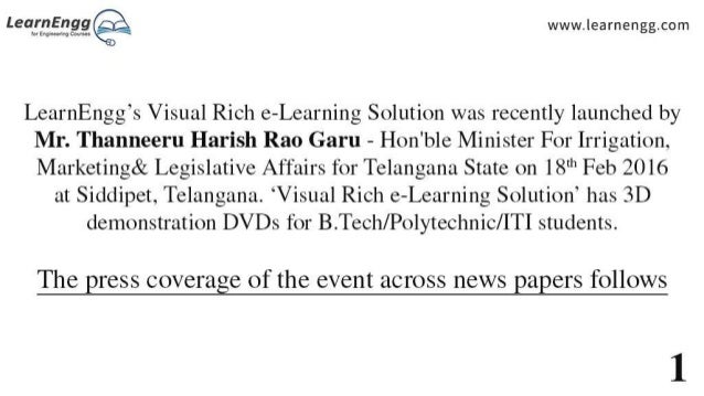 'Visual Rich e-Learning Solution' launched by Minister of Telengana Slide 2