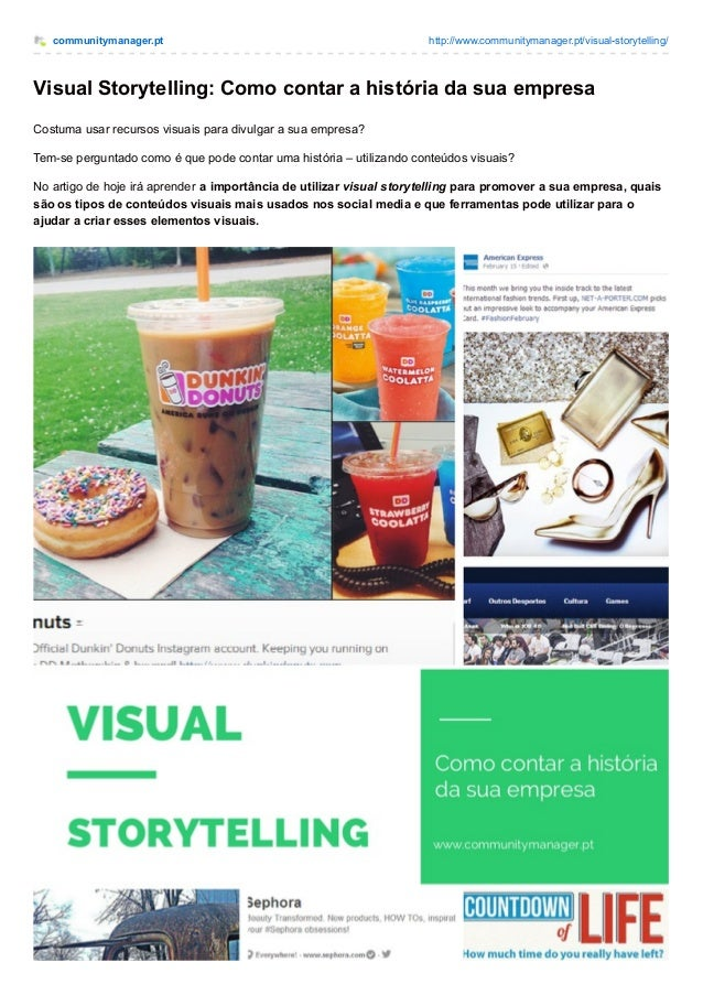 communitymanager.pt http://www.communitymanager.pt/visual-storytelling/ Visual Storytelling: Como contar a história da sua...