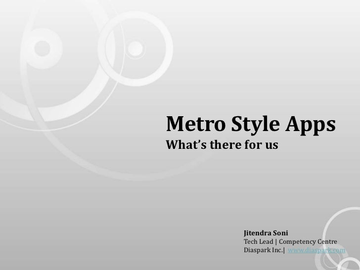 Metro Style AppsWhat's there for us             Jitendra Soni             Tech Lead | Competency Centre             Diaspa...