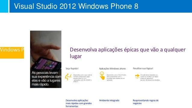 Visual Studio 2012 Windows Phone 8 Desenvolva aplicações épicas que vão a qualquer lugar Visual Studio Summit 2012