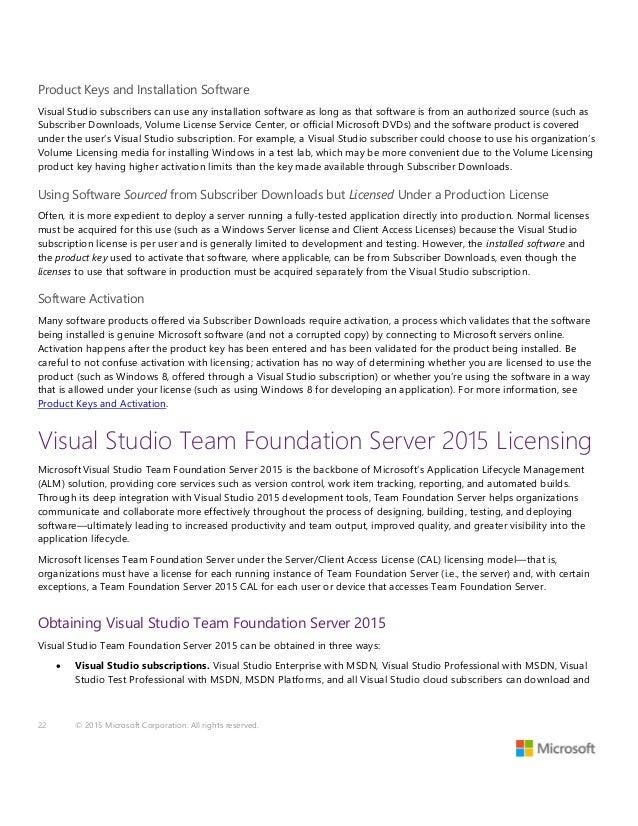 Visual Studio 2015 and MSDN Licensing Whitepaper - November 2015