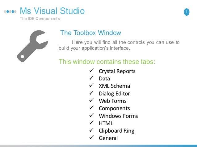 Visual studio ide componects dot net framwork