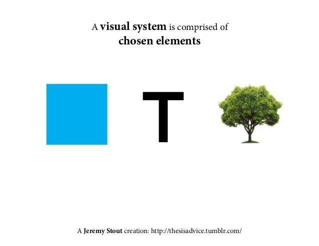 A visual system is comprised of  chosen elements  T  A Jeremy Stout creation: http://thesisadvice.tumblr.com/