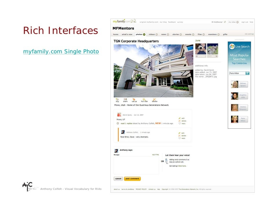 Rich Interfaces myfamily.com Single Photo          Anthony Colfelt - Visual Vocabulary for RIAs