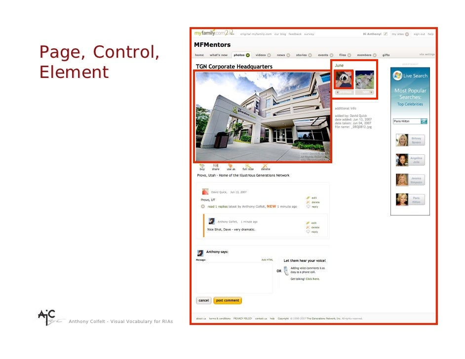 Page, Control, Element        Anthony Colfelt - Visual Vocabulary for RIAs