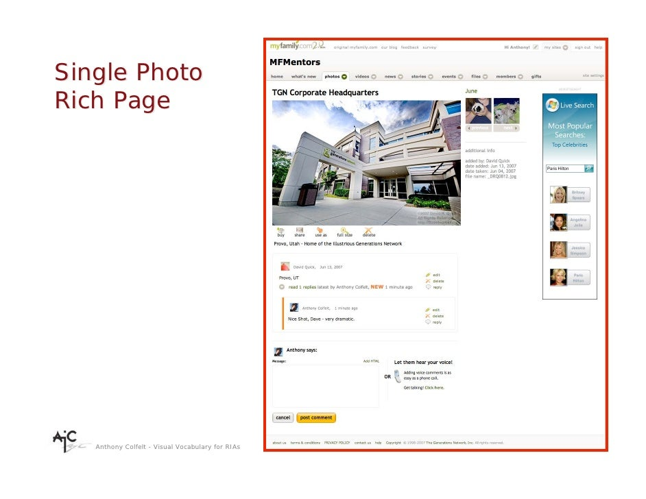 Single Photo Rich Page        Anthony Colfelt - Visual Vocabulary for RIAs