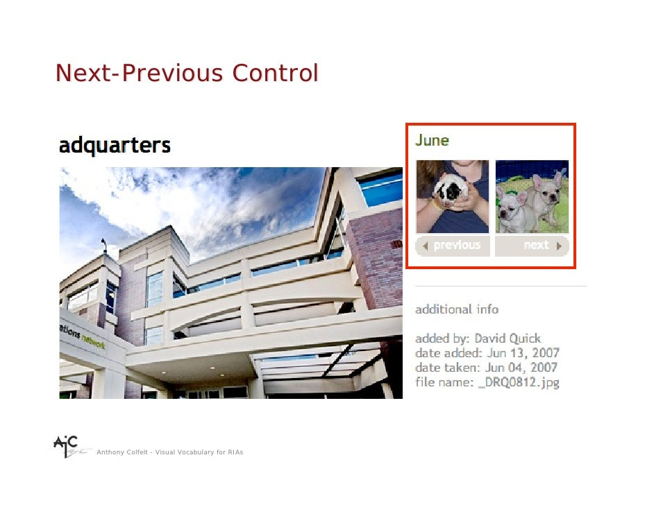 Next-Previous Control        Anthony Colfelt - Visual Vocabulary for RIAs