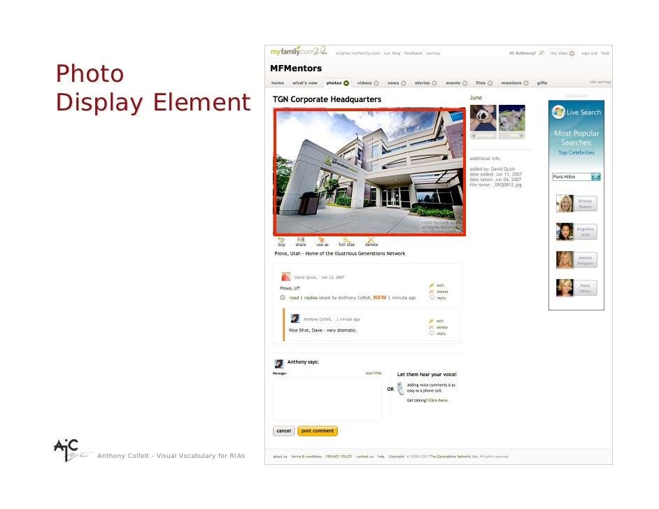 Photo Display Element        Anthony Colfelt - Visual Vocabulary for RIAs