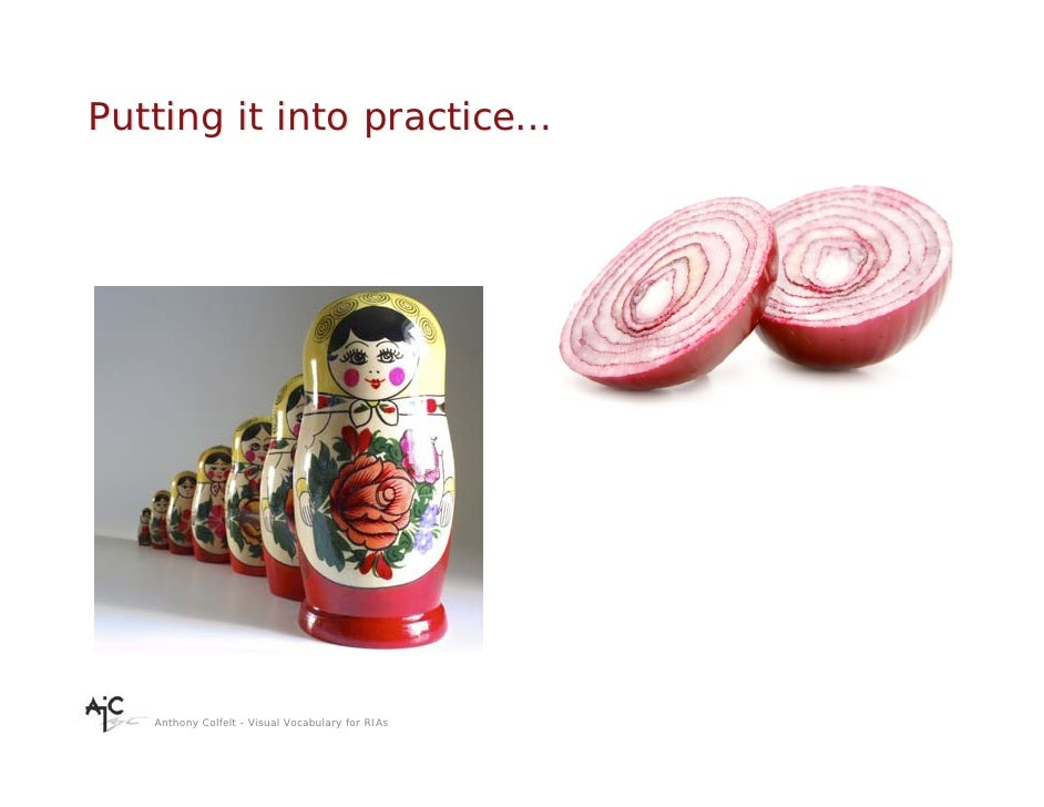 Putting it into practice…        Anthony Colfelt - Visual Vocabulary for RIAs