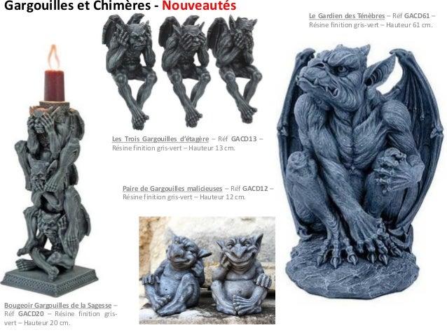 Gargouilles et Chimères - Nouveautés Bougeoir Gargouilles de la Sagesse – Réf GACD20 – Résine finition gris- vert – Hauteu...