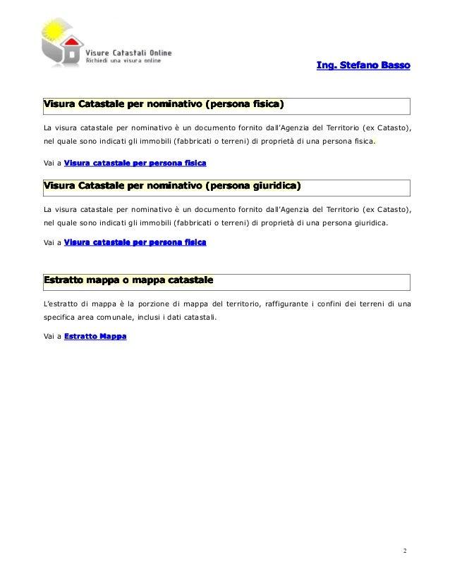 Visure catastali ed estratto mappa for Visura catastale per soggetto gratis