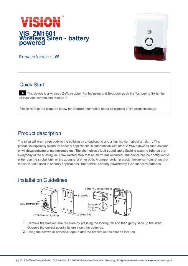 Manual Vision Siren Vis Zm1601