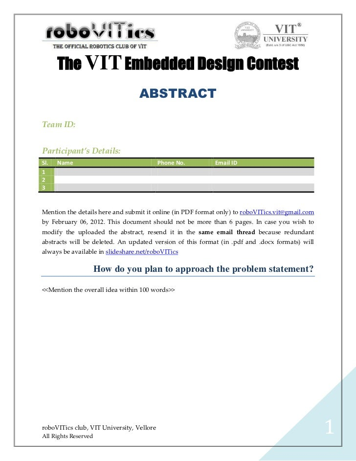 The VIT Embedded Design Contest                                  ABSTRACTTeam ID:Participant's Details:Sl.   Name         ...