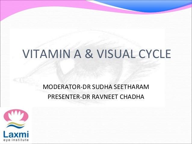VITAMIN A & VISUAL CYCLE MODERATOR-DR SUDHA SEETHARAM PRESENTER-DR RAVNEET CHADHA