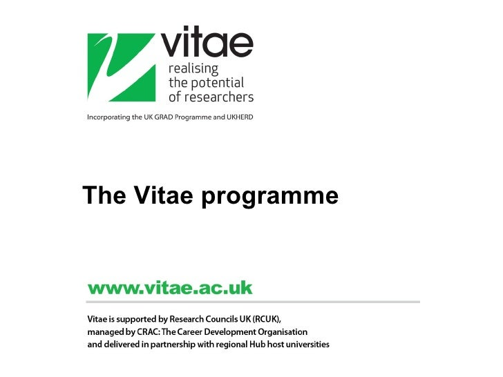 The Vitae programme