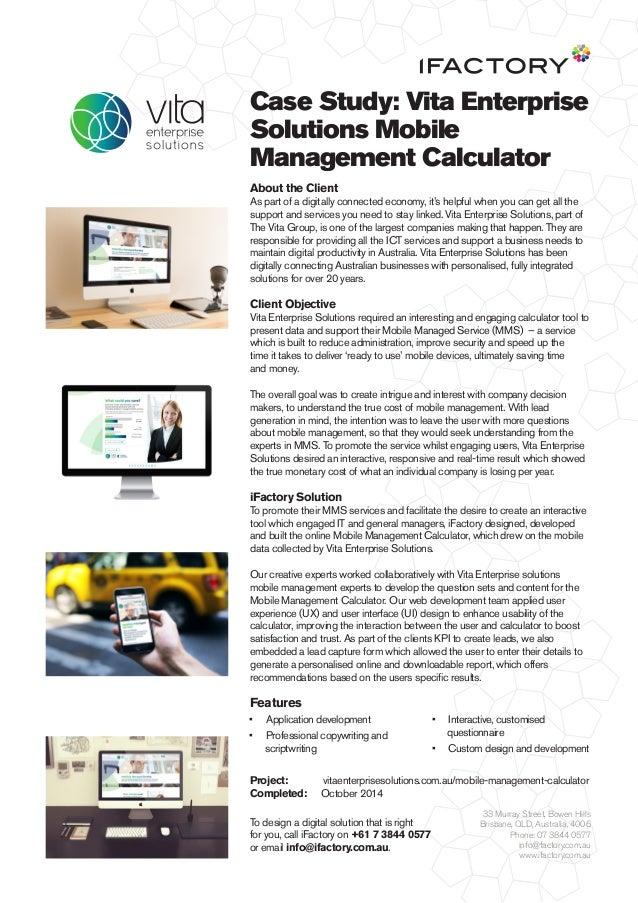 Case Study: Vita Enterprise Solutions Mobile Management Calculator