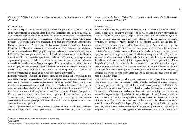 1Ex Antonii D'Elia S.I. Latinarum litterarum historia vita et opera M. Tulli                 Vida y obras de Marco Tulio C...