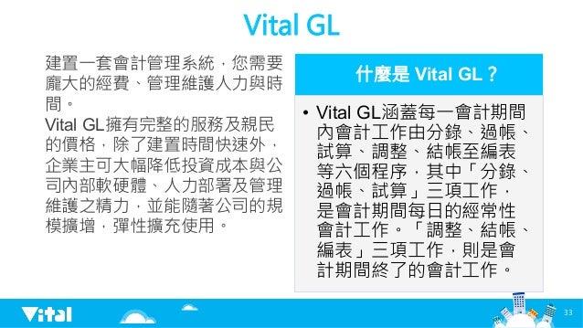 Vital GL 建置一套會計管理系統,您需要 龐大的經費、管理維護人力與時 間。 Vital GL擁有完整的服務及親民 的價格,除了建置時間快速外, 企業主可大幅降低投資成本與公 司內部軟硬體、人力部署及管理 維護之精力,並能隨著公司的規 模...
