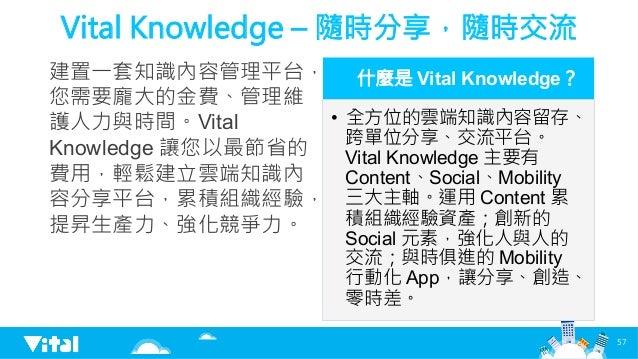 Vital Knowledge – 隨時分享,隨時交流 建置一套知識內容管理平台, 您需要龐大的金費、管理維 護人力與時間。Vital Knowledge 讓您以最節省的 費用,輕鬆建立雲端知識內 容分享平台,累積組織經驗, 提昇生產力、強化競...