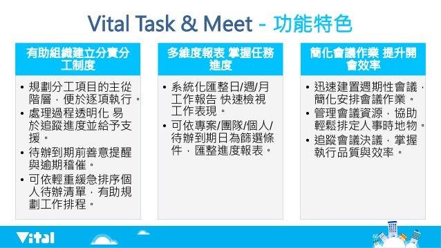 Vital Task  Meet-功能特色 有助組織建立分責分 工制度 • 規劃分工項目的主從 階層,便於逐項執行。 • 處理過程透明化 易 於追蹤進度並給予支 援。 • 待辦到期前善意提醒 與逾期稽催。 • 可依輕重緩急排序個 人待辦...