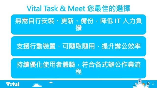 Vital Task  Meet 您最佳的選擇 無需自行安裝、更新、備份,降低 IT 人力負 擔 支援行動裝置,可隨取隨用,提升辦公效率 持續優化使用者體驗,符合各式辦公作業流 程 67