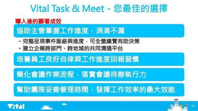 Vital Task  Meet-您最佳的選擇 協助主管掌握工作進度,涓滴不漏 • 完整呈現事件脈絡與進度,可全盤總覽有助決策 • 建立企業跨部門、跨地域的共同溝通平台 培養員工良好自律與工作進度回報習慣 簡化會議作業流程,落實會議待辦執行...