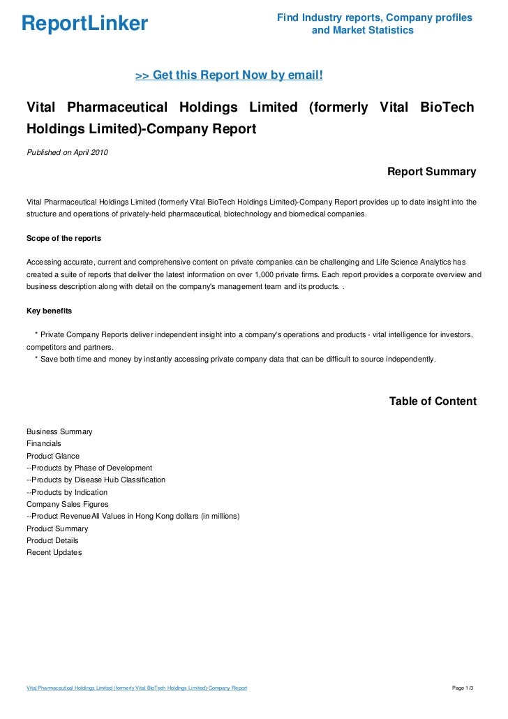 Vital Pharmaceutical Holdings Limited (formerly Vital BioTech Holdings Limited)-Company Report