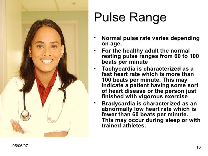 Pulse rate normal adult