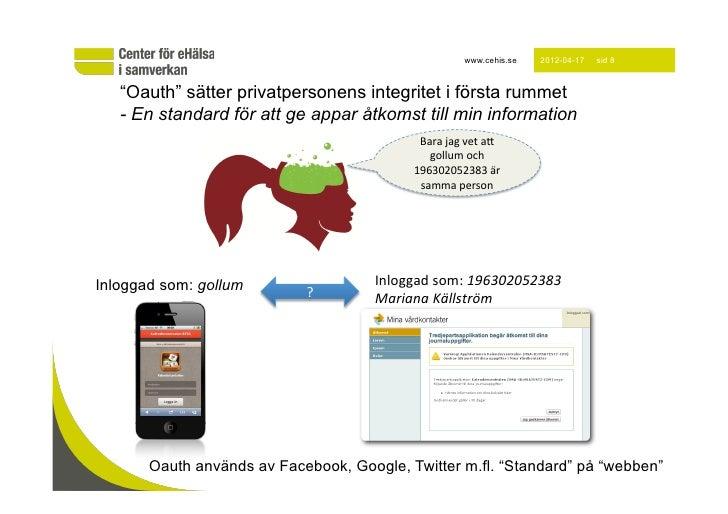 """www.cehis.se    2012-04-17   sid 8   """"Oauth"""" sätter privatpersonens integritet i första rummet   - En standard för att ge ..."""