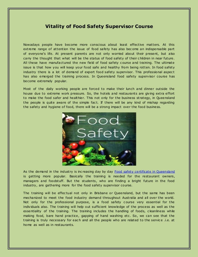 Vitality of Food Safety Supervisor Course