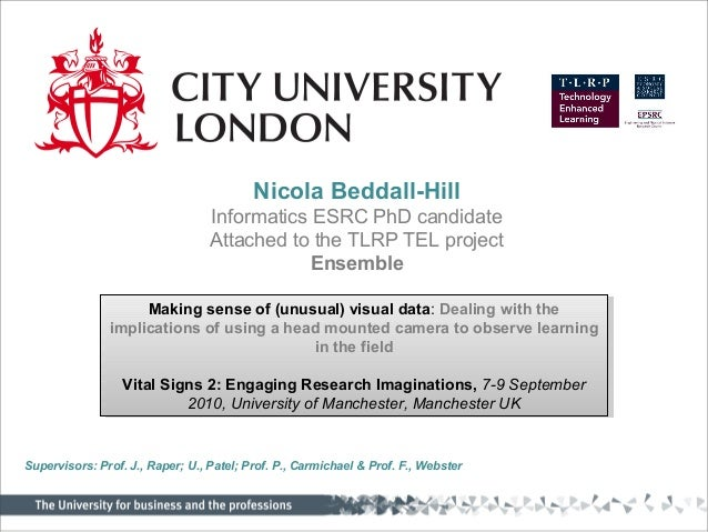 Nicola Beddall-Hill Informatics ESRC PhD candidate Attached to the TLRP TEL project Ensemble Making sense of (unusual) vis...