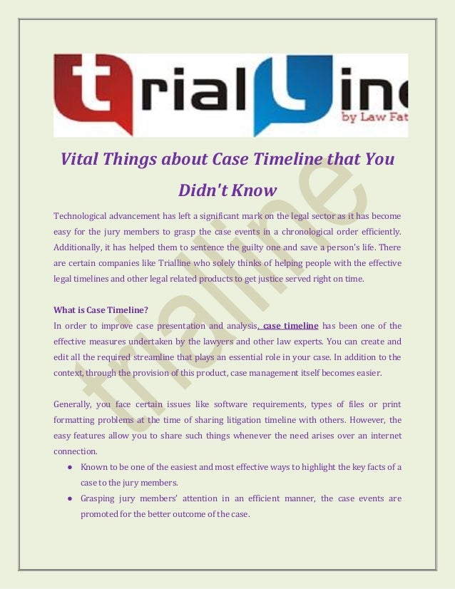 vital things about case timeline that you didn t know