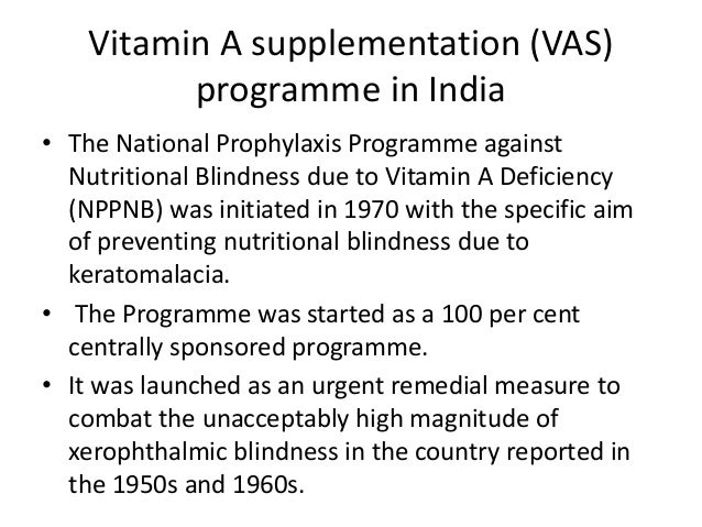 Vitamin A Deficiency And Control Programme