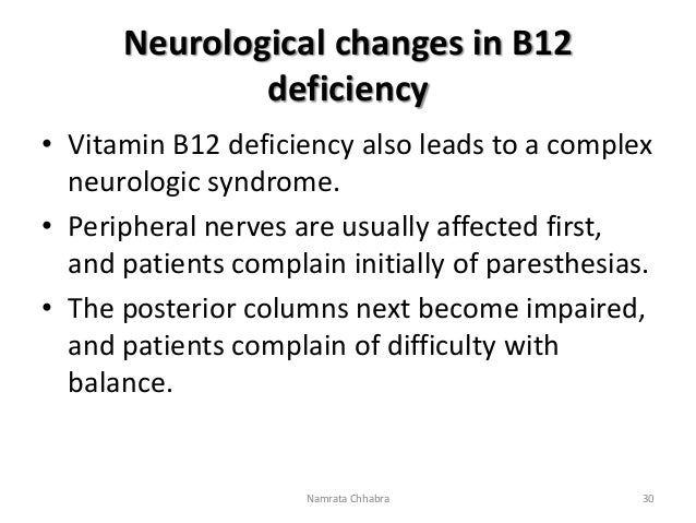 Vitamin B12- Chemistry, functions and clinical significance B12 Deficiency Symptoms