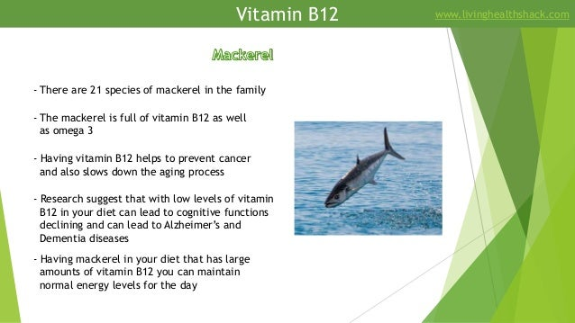 Vitamin B12 www.livinghealthshack.com - There are 21 species of mackerel in the family - The mackerel is full of vitamin B...