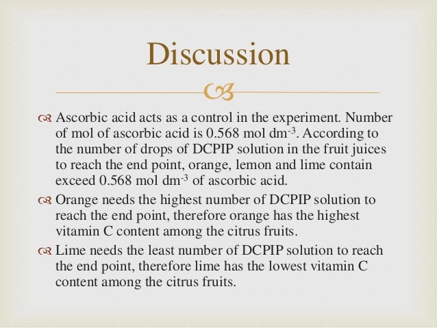 dcpip test vitamin c Test fruit, vegetables, and drinks for vitamin c content while learning about the chemical components of different foods the instruction manual includes prompts for science fair projects you provide adult supervision, kitchen supplies, and fruits and vegetables.