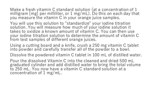 vitamin c lab report In this experiment i will be finding out which fruit juice contains the most vitamin c  i will be using a method similar to titration but i will be using a syringe instead.