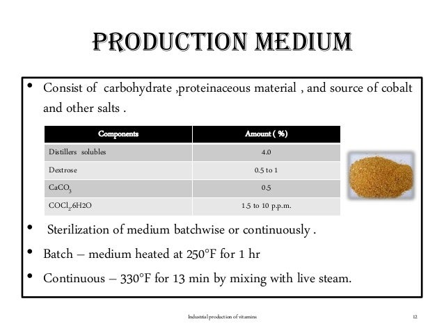 Production medium • Consist of carbohydrate ,proteinaceous material , and source of cobalt and other salts . • Sterilizati...