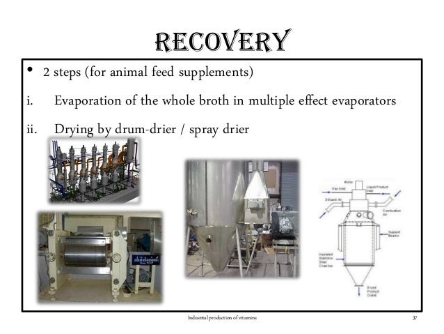 recovery • 2 steps (for animal feed supplements) i. Evaporation of the whole broth in multiple effect evaporators ii. Dryi...