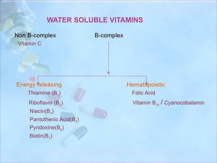 WATER SOLUBLE VITAMINS <ul><li>Non B-complex   B-complex  </li></ul><ul><li>Vitamin C </li></ul><ul><li>Energy releasing  ...