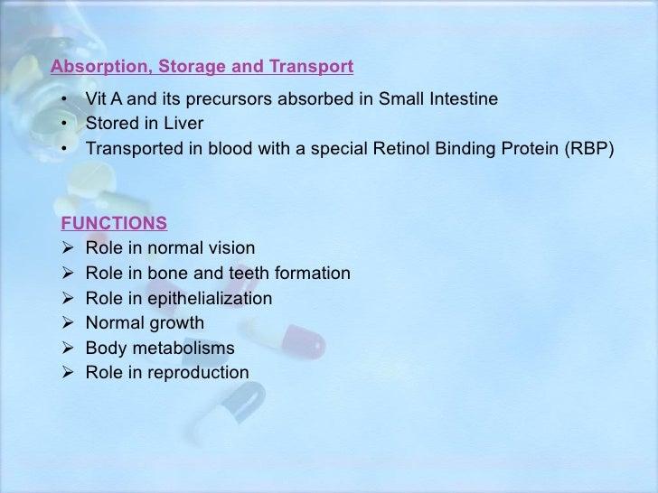 Absorption, Storage and Transport <ul><li>Vit A and its precursors absorbed in Small Intestine </li></ul><ul><li>Stored in...