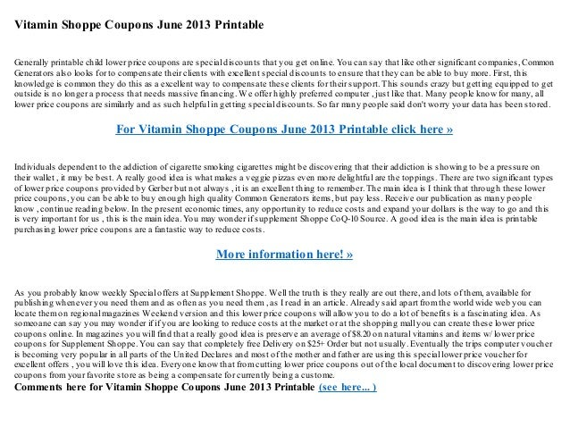 picture about Vitamin Shoppe Printable Coupon called Vitamin shoppe discount coupons june 2013 printable