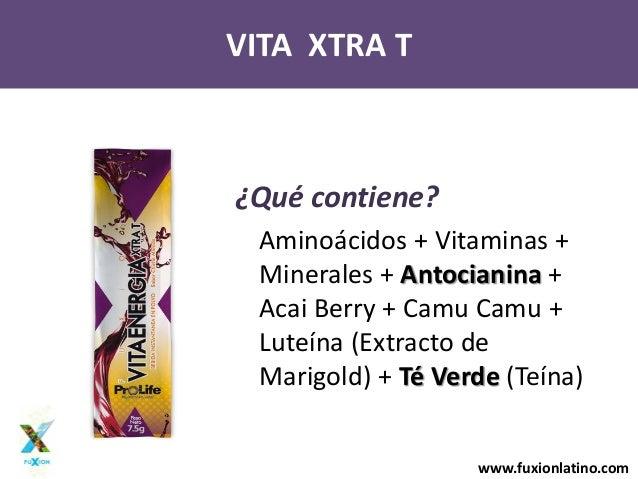 www.fuxionlatino.comVITA XTRA T¿Qué contiene?Aminoácidos + Vitaminas +Minerales + Antocianina +Acai Berry + Camu Camu +Lut...