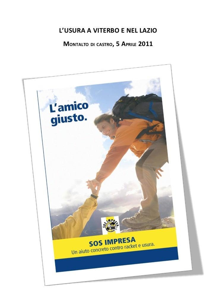 L'USURA A VITERBO E NEL LAZIO MONTALTO DI CASTRO, 5 APRILE 2011