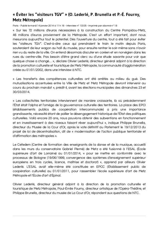 """« Éviter les """"visiteurs TGV"""" » (O. Lederlé, P. Brunella et P.-É. Fourny, Metz Métropole) Paris - Publié le mardi 14 ..."""