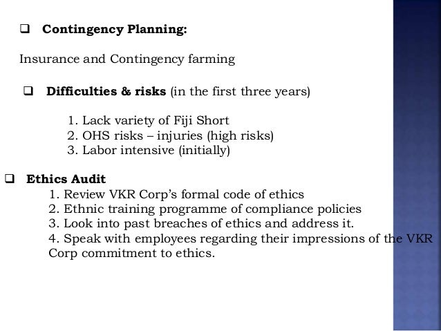 coca cola risk management plan including contingency plans for identified risks