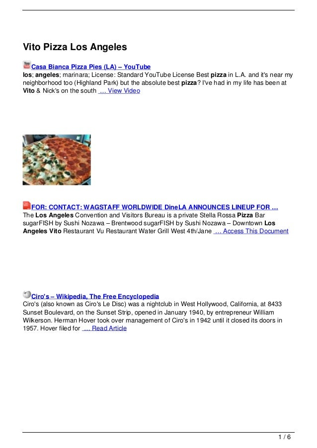 Vito Pizza Los Angeles   Casa Bianca Pizza Pies (LA) – YouTubelos; angeles; marinara; License: Standard YouTube License Be...